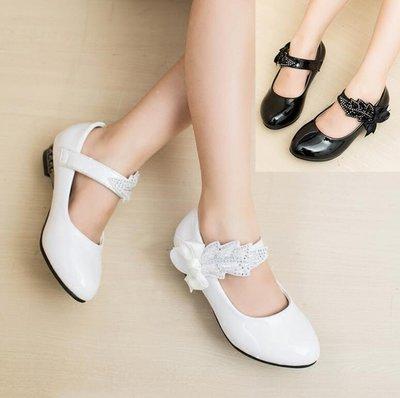 韓版皮鞋 兒童童鞋 表演演出鞋公主鞋 中大童水鑽高跟鞋—莎芭