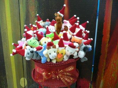 一馬當先聖誕帽動物絨毛筆花籃~71支公仔玩偶筆~聖誕節派對小物送客禮贈品結婚禮小物二次進場婚宴囍糖來店禮開幕迎賓禮滿額禮