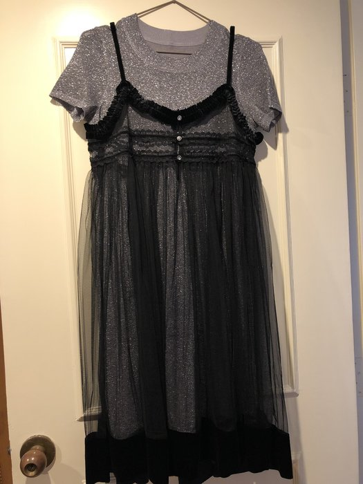 類Chanel 銀色天鵝絨背心裙