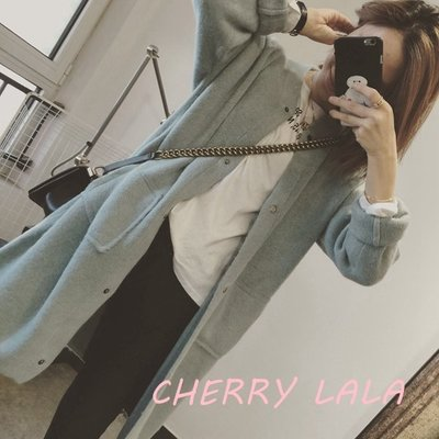 CHERRY LALA 韓國單實拍 氣質湖水藍圓領暗扣厚兔絨針織外套-湖水藍  YN03061