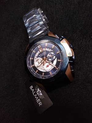 【小川堂】7993 馬皇 賓馬 BALMER 寶藍 玫瑰金 藍鋼錶帶 三眼 藍寶石鏡面 外框鉚釘設計
