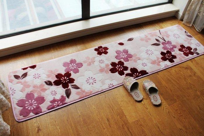 粉紅玫瑰精品屋~浪漫櫻花地毯床邊毯長條地毯厨房地毯飄窗毯~75*200公分
