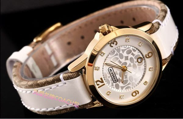 我愛名牌COACH包`美國100%正品【清倉低價出售購買兩件免運】 帆布皮帶針扣優雅復古女錶