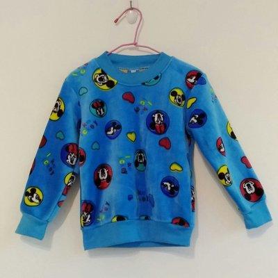 藍色珊瑚絨內刷厚毛米奇上衣