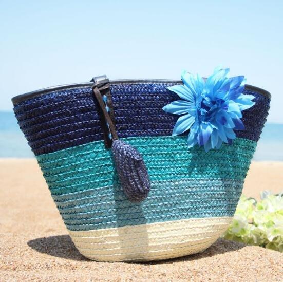 側背包 夏季新款花朵女包編織包大包包草編包沙灘包單肩手提包海邊度假包—莎芭