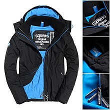 跩狗嚴選 極度乾燥 Superdry Arctic 經典款 三排拉鍊 防風刷毛保暖 風衣 外套 黑藍 現貨