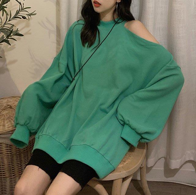 SeyeS  日韓個性甜美復古潮流單邊露肩設計感寬鬆大學T