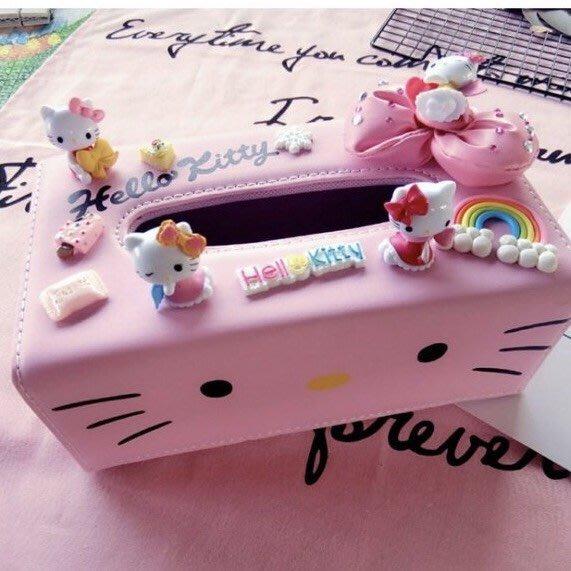 PARIS WOMAN.可愛 Hello Kitty 粉色皮革 3D立體創意超萌面紙巾盒 汽車盒