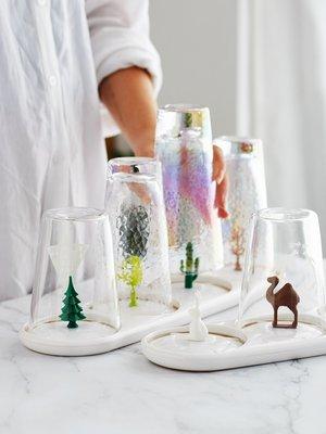 家用收納 日常收納 收納籃 置物架 廚房 塑料晾杯架瀝玻璃水杯架家用卡通晾杯子架子杯具收納架
