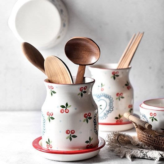 MAJPOINT*餐具 瀝水架 筷子湯匙 收納筒 陶瓷 田園風 日式雜貨 多功能 防霉 廚房收納盒籃