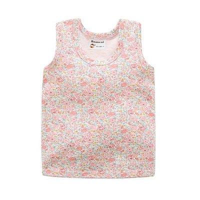 【可愛村】棉感透氣滿版粉色花朵背心 童裝