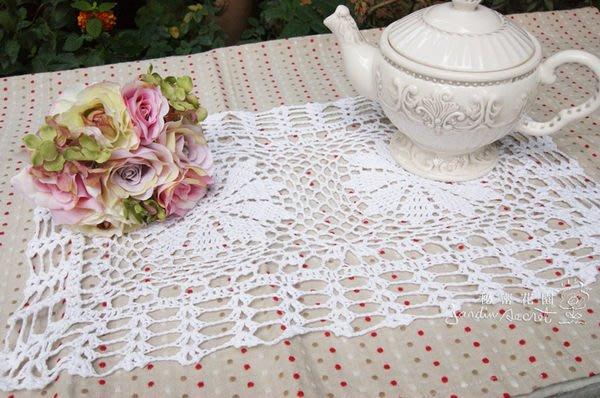 編織餐墊--秘密花園--日本ZAKKA自然風格白色手編織餐墊 蓋布 桌墊45X30CM