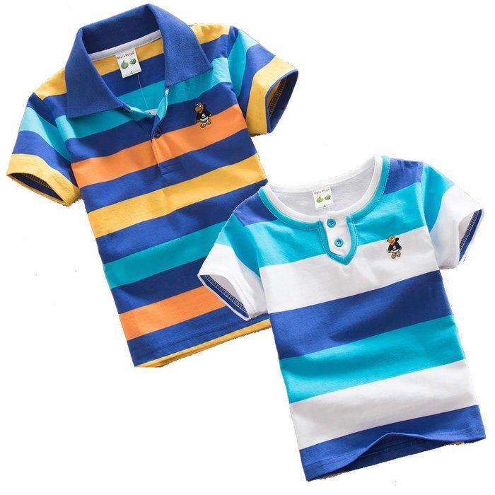 【小太陽玩具屋】純棉男童短袖橫條衣 男童短T恤 男童短Polo衫 兒童短上衣  童裝 5-12歲 9031