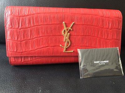 Saint Laurent少見類鱷魚紋紅色手拿包 YSL HERMES Chanel woc