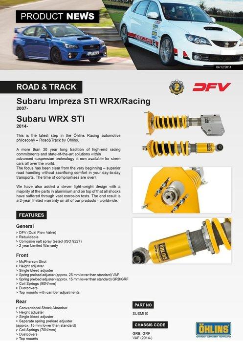 Subaru 速霸陸 WRX STI 2014+ 專用 瑞典 Ohlins Road & Track 避震器