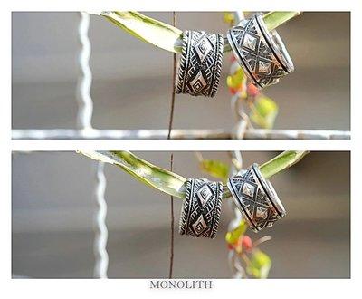 {BTO}【MONOLITH】台灣匠人手打 菱形NAVAJO圖騰打印戒指