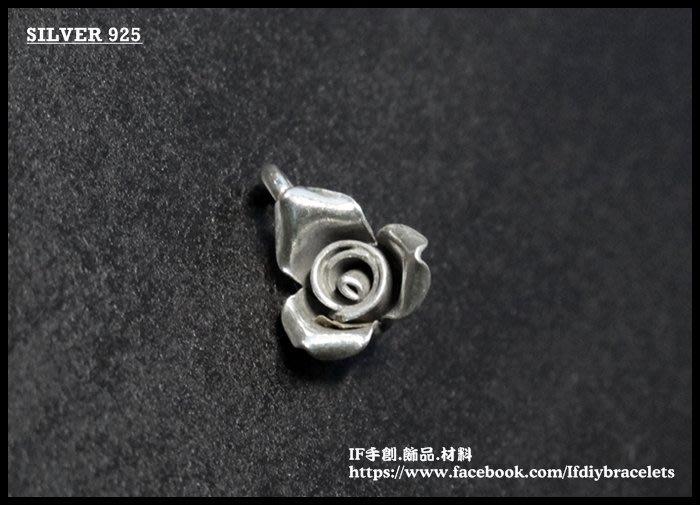 進口 泰銀 950 純銀 TCM0218 手工銀 立體玫瑰吊墜 連接 吊飾 飾品 配件 手創 DIY 手鍊 蠟線