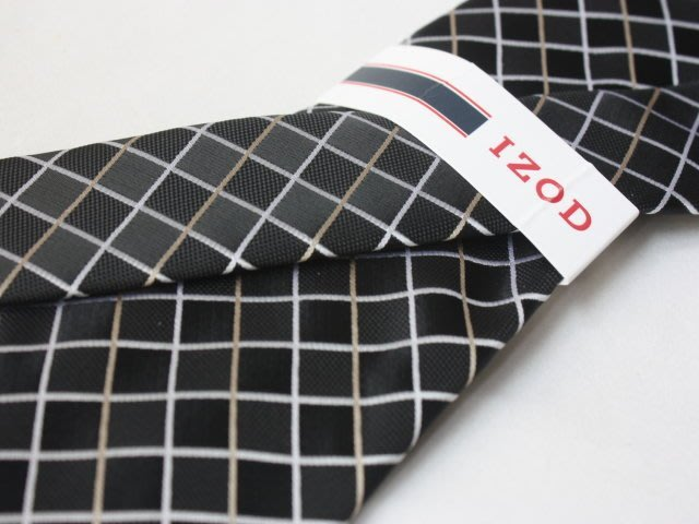 【IZOD】100%全新正品 格紋領帶-黑灰色【寬版8cm】*領帶兩條95折三條9折*NEW ID01