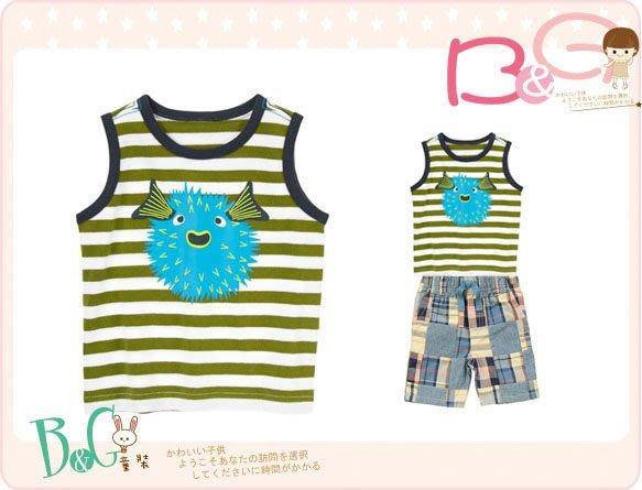 【B& G童裝】正品美國進口GYMBOREE河豚圖樣綠色條紋背心上衣12-18mos