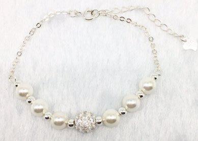 ☆╮Darling Baby ☆香港代購 正生銀飾~鑽球珍珠手鏈