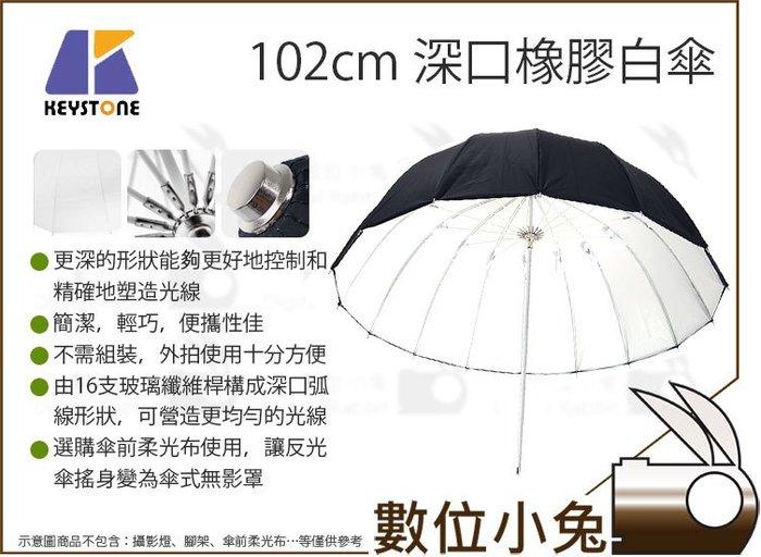 數位小兔【 Keystone 102cm 深口橡膠白傘 】40吋 深型 白色 反光傘 外黑內白 16支 玻璃纖維桿