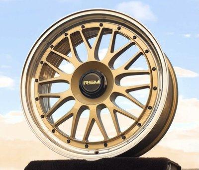 全新 RSM RF01 19吋鋁圈 金色亮唇邊 旋壓 5孔 100 108 112 114.3 120 110 類LM2
