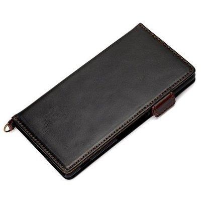 尼德斯Nydus~* 日本正版 PU合成皮 卡片內層 磁扣式 皮套 翻頁式 手機殼 Sony Z3+ Z4 -黑