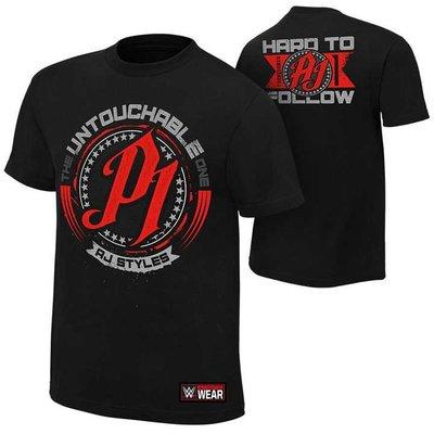 WWE摔角衣服 AJ Styles Untouchable 不可觸極黑色短袖T恤 買三免運