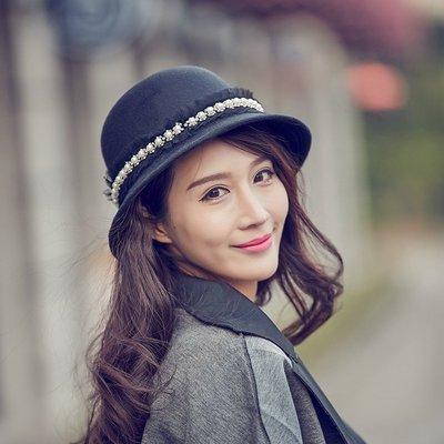 小禮帽毛呢帽-圓頂蕾絲珍珠黑色女帽子73vt25[獨家進口][米蘭精品]