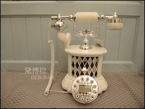 高雄.黛博拉家飾精品.現代新古典復古電話古董電話仿古電話白色圓型高筒玻璃馬賽克造型電話來電顯示家用電話有線電話居家佈置