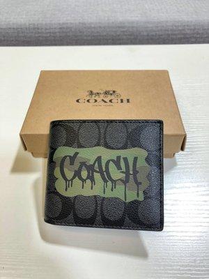 (Outlet特惠)COACH 37333 新款男士塗鴉LOGO印花短夾 內附證件套 附代購憑證