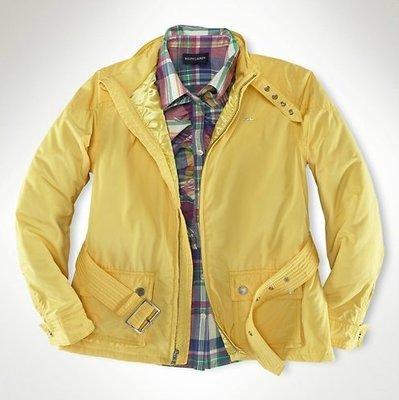 全新 ~ RALPH LAUREN POLO 立領 腰帶款式 黃色 鋪棉防風 帥氣外套 (16) 2890元