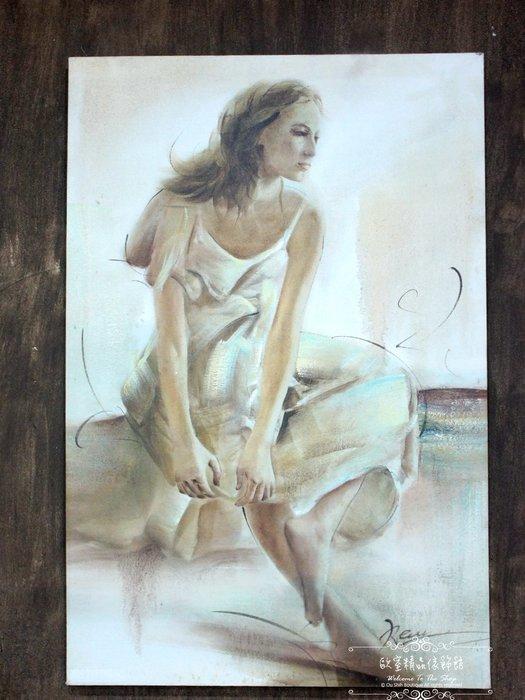 ~*~歐室精品傢飾館~*~鄉村風格 手工 繪製 工筆 油畫 時尚 摩登 女子 無框畫 掛畫 掛圖 壁飾 G款~新款上市~
