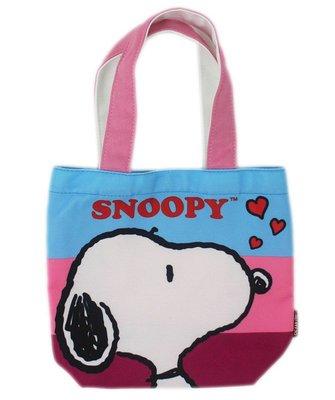 【卡漫迷】 史努比 手提袋 大頭 條紋背景 ㊣版 史奴比 Snoopy 外出袋 餐袋 便當袋 手提包 外出包 魔鬼氈式