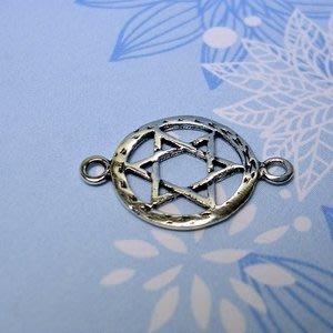琥珀貓~【925純銀材料配件】連結配件~A0060~六角星牌~一個