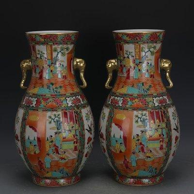 ㊣姥姥的寶藏㊣ 清晚期廣彩描金人物花鳥象耳瓶一對全手工精品 古瓷古玩古董收藏
