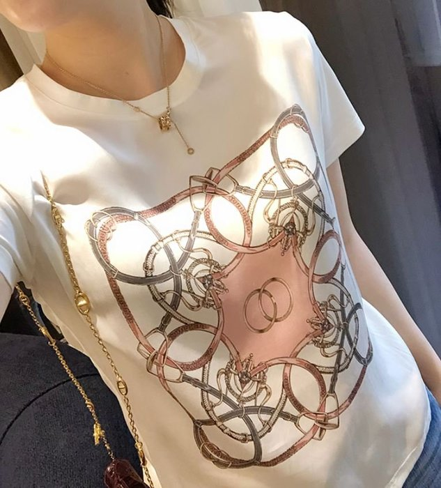 蠶絲+絲光棉印花T恤 2220