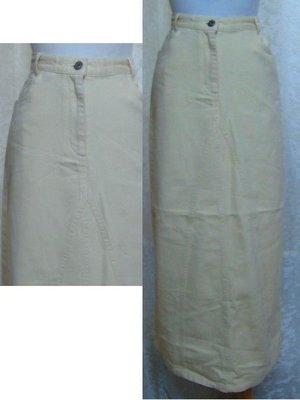 ~麗麗ㄉ大碼舖~#4-6(28-29吋)鵝黃色牛仔長裙~~全賣場3件免運~小碼拍賣
