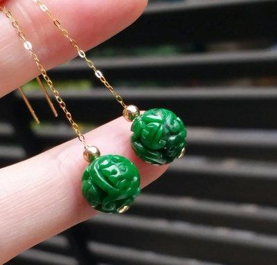 嗨,寶貝銀飾珠寶* 翡翠飾品☆18k黃金 天然緬甸玉 保A貨 顯色 辣綠巧雕喜字翡翠垂墜耳環 耳針