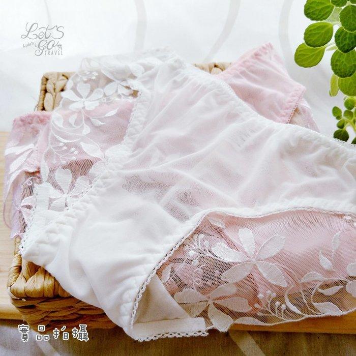 低腰內褲  ❉︵ 浪漫蕾絲低腰網紗花草繡花內褲 ︵❉3色。Let's Go lulu's。AC84