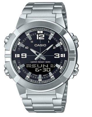 【天龜 】CASIO 10年電力指針數位雙顯系列 LED 粗曠不鏽鋼錶款  AMW-870D-1A