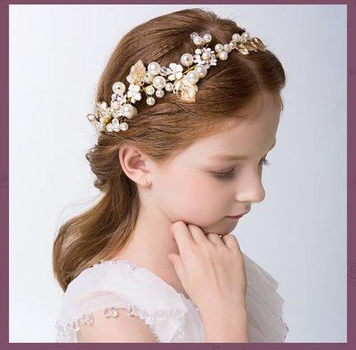 【俏寶貝童裝~新竹實體店面】女童手工白色珍珠花朵金邊髮圈 髮箍 兒童髮飾 兒童禮服配件 花童髮飾 拍照寫真配件