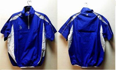 2015秋冬新款 MLB Majestic美國大聯盟  道奇隊LOGO印花開門襟防風球衣熱身衣短袖T恤 寶藍
