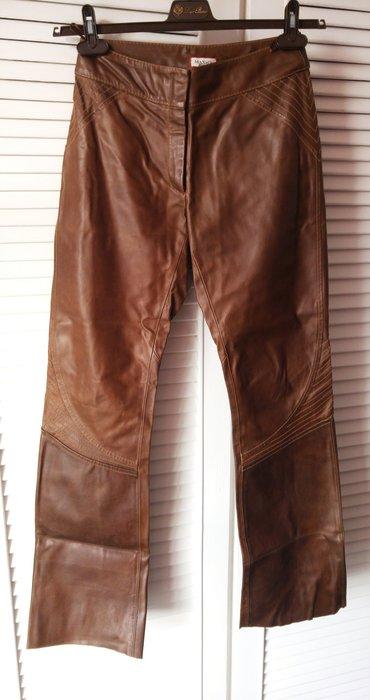 MAX & CO 棕色頭層牛皮褲 女哈雷防摔褲可參考