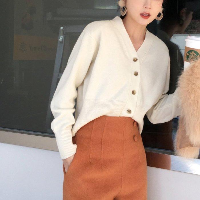 ACHIC┼歐美休閒zara風basic items單排扣羊毛針織v領小外套上衣~白色,粉色