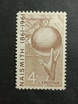 【 黑白宇宙 】1961年美國奈史密斯籃球郵票1全__2710 台北市
