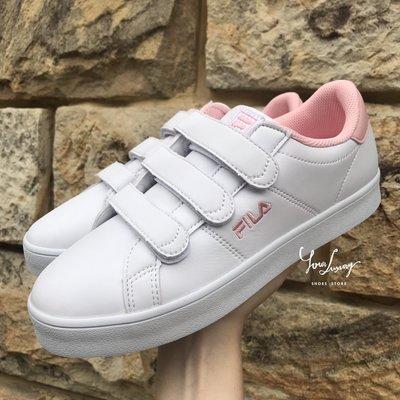 【Luxury】零碼特價 FILA 粉色魔鬼氈 草莓牛奶 F1XKZ0160 聯名款 復古運動鞋 網球鞋 粉標 白皮革