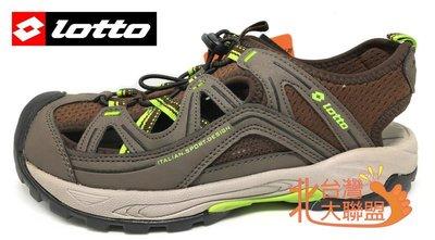 北台灣大聯盟 義大利第一品牌-LOTTO 男款排水護趾耐磨運動涼鞋 2263 咖啡 超低直購價498元