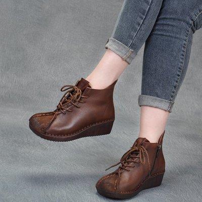 拓荒者革製所。手工縫制真皮短靴高幫鞋軟底防滑坡跟單鞋裸靴厚底真皮牛皮女靴