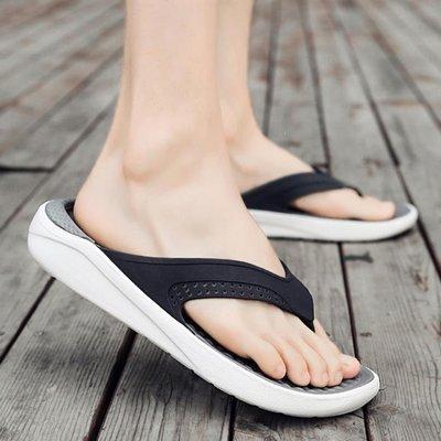 ZIHOPE 涼鞋 夏季拖鞋男夾趾韓版沙灘鞋時尚室外穿厚底男防滑人字拖鞋ZI812